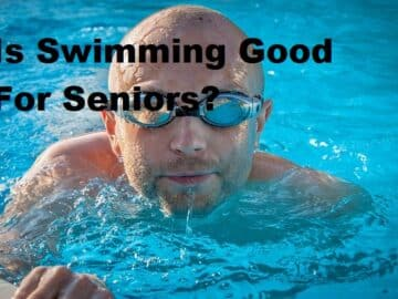 A man in a pool wit a title Is swimming good for seniors